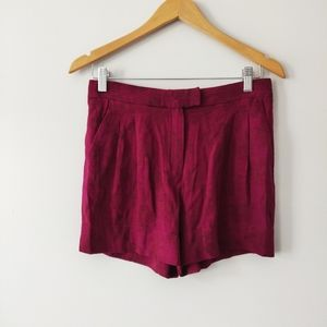 Massimo Dutti Burgundy Floral Embroidered Shorts